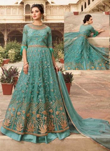 Sea Blue Net Party Wear Thread Work Anarkali Suit
