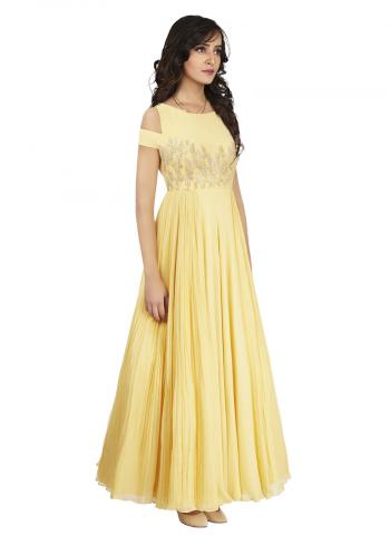 Soft Crepe Silk Light Lemon Colour Designer Gown With Gota Patti And Zari Work