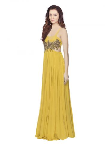 Yellow Evening Gown With Zardosi Work In Floral Pattern