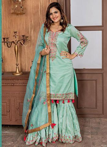 Aqua Fancy Wedding Wear Embroidery Work Sharara Suit