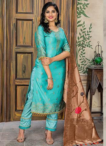 Aqua Green Banarasi Jacquard Wedding Wear Embroidery Work Straight Suit