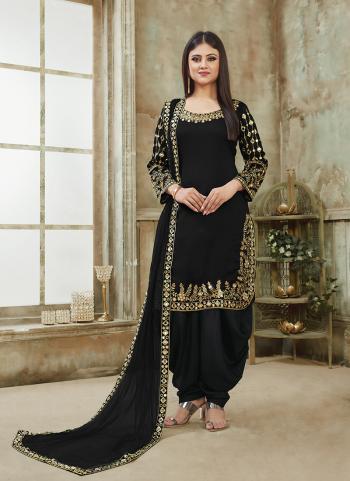 Art Silk Black Festival Wear Mirror Work Patiala Suit