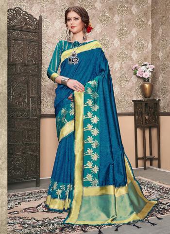 Art Silk Blue Embroidery Work Wedding Wear Saree