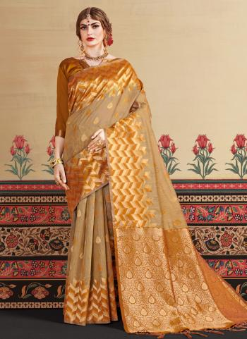 Art Silk Golden Festival Wear Zari Work Saree