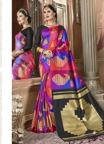 Art Silk Multi Color Printed Work Festival Wear Saree