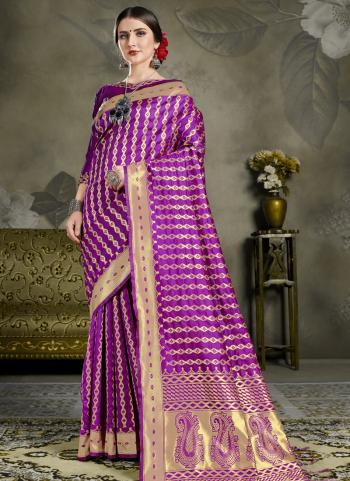 Art Silk Purple Zari Work Party Wear Saree