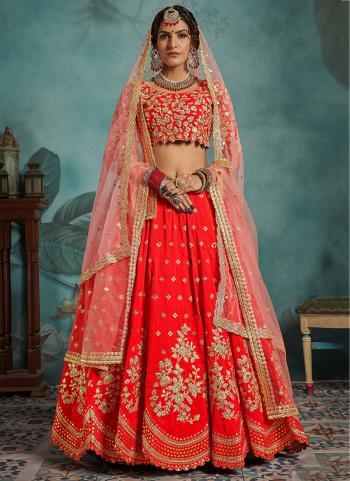 Sequins Work Art Silk Red Wedding Wear Lehenga Choli