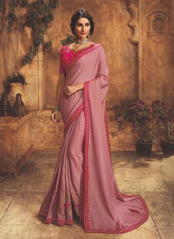 Banarasi Silk Pink Party Wear Lace Work Saree