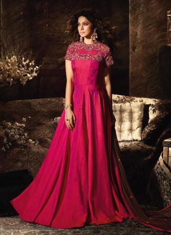 Banarasi Silk Rani Zari Work Wedding Wear Anarkali Suit