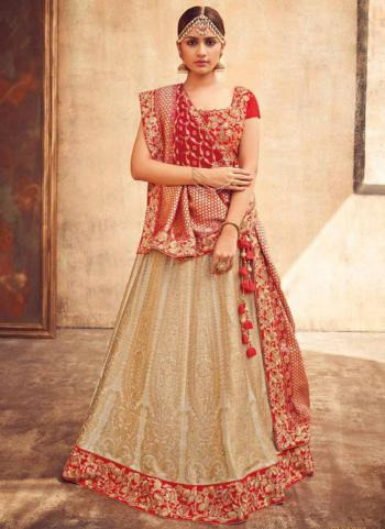 Beige Art Silk Bridal Wear Zari Work Lehenga Choli