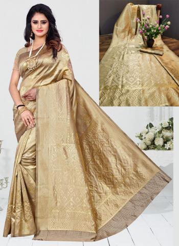 Beige Art Silk Festival Wear Zari Work Saree