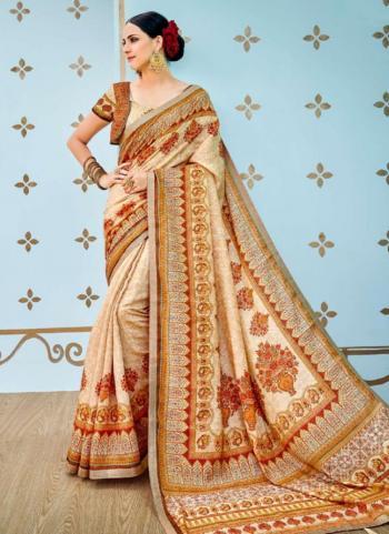 Beige Banarasi Silk Reception Wear Digital Print Saree