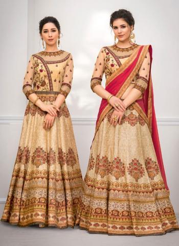 Beige Banarasi Silk Wedding Wear Digital Print Lehenga Choli