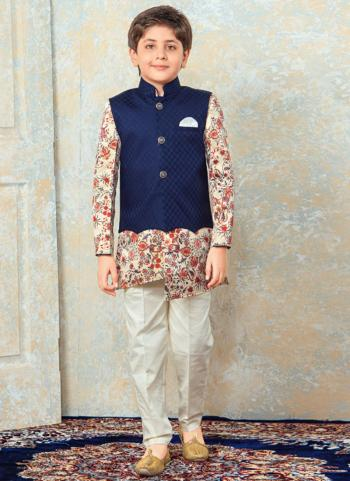 Beige Cotton Festival Wear Diamond Work Kids Kurta Pajama