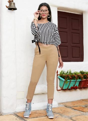Beige Cotton Office Wear Plain Pant