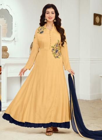 Beige Cotton Satin Party Wear Embroidery Work Anarkali Suit
