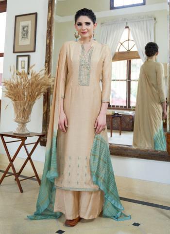 Beige Cotton Silk Festival Wear Embroidery Work Palazzo Suit