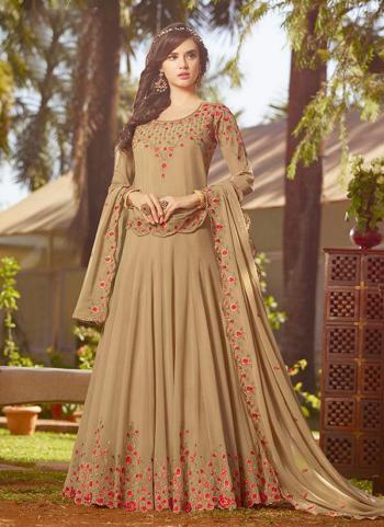 Beige Faux Georgette Reception Wear Embroidery Work Anarkali Suit