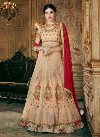 Beige Georgette Festival Wear Embroidery Work Anarkali Suit