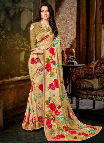 Beige Georgette Regular Wear Printed Work Saree