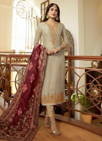 Beige Georgette Satin Embroidery Work Festival Wear Churidar Suit