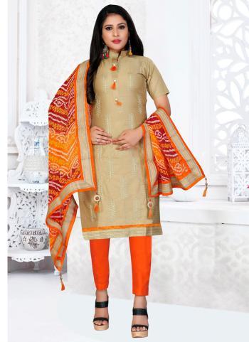 Beige Glace Cotton Regular Wear Multi Work Churidar Suit