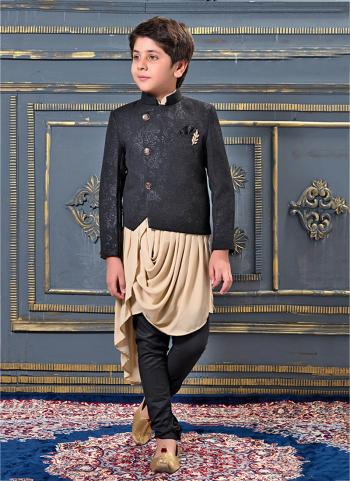 Beige Jacqaurd Party Wear Fancy Kids Dhoti Kurta