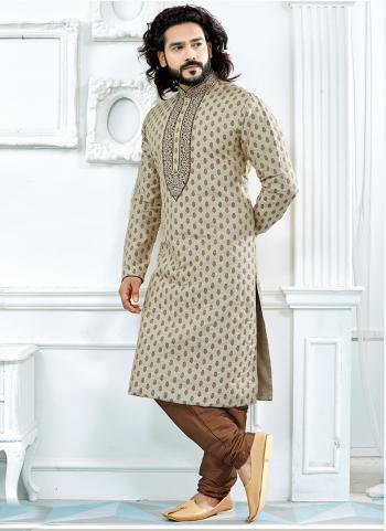 Beige Jacquard Festival Wear Printed Kurta Pajama