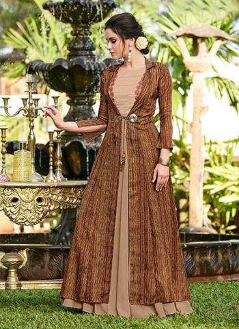 Beige Linen Satin Party Wear Embroidery Work Gown