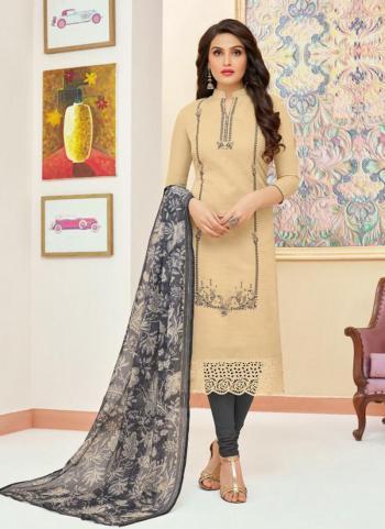 Beige Modal Silk Daily Wear Embroidery Work Churidar Style