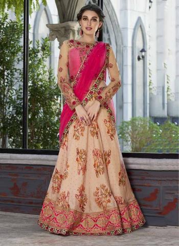 Beige Modal Silk Party Wear Digital Print Lehenga Choli
