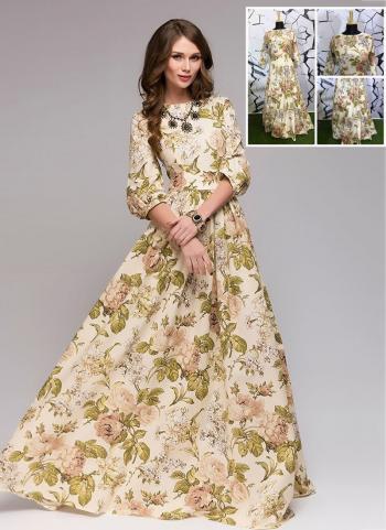 Beige Muslin Cotton Party Wear Printed Work Gown