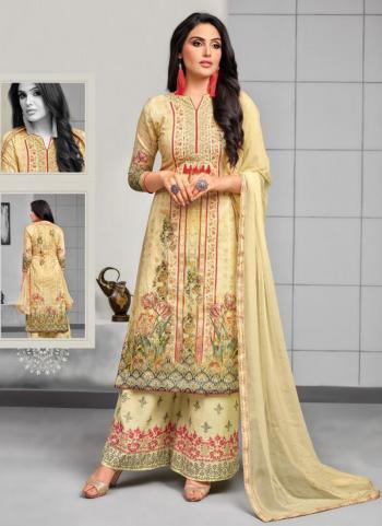 Beige Muslin Silk Daily Wear Digital Print Plazzo Suits