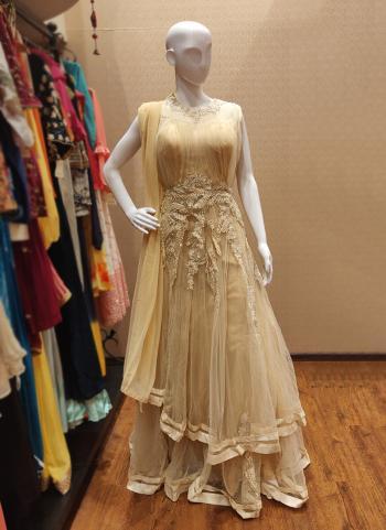 Beige Net Festival Wear Hand Work Gown