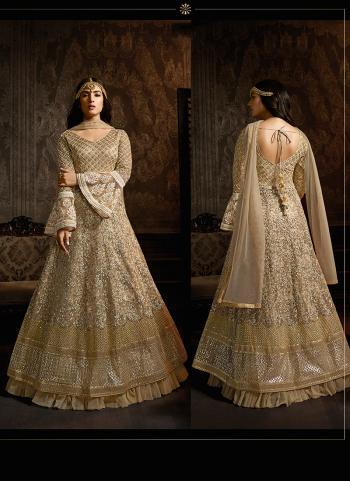 Reception Wear Beige Net Embroidery Work Anarkali Suit