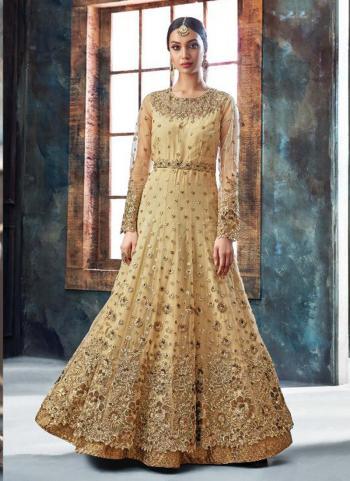 Beige Net Reception Wear Heavy Embroidery Work Anarkali Style