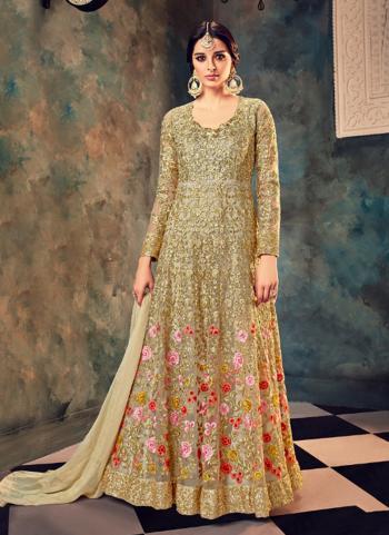 Beige Net Wedding Wear Embroidery Work Anarkali Style