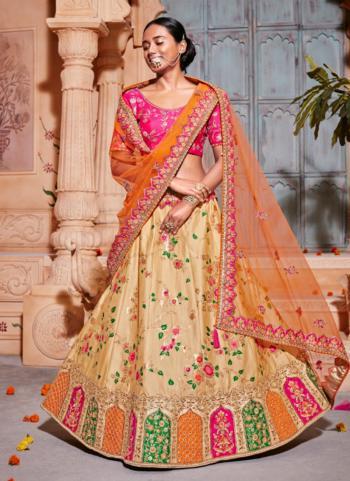 Beige Paper Silk Bridal Wear Zari Embroidery Work Lehenga Choli