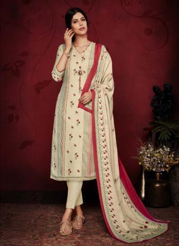 Beige Pashmina Daily Wear Printed Work Churidar Suit