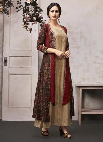 Beige Rayon Casual Wear Printed Work Kurti With Shrug