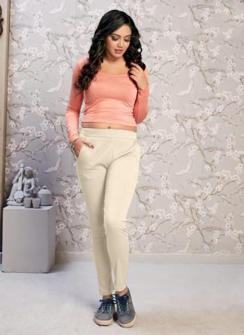 Beige Rayon Daily Wear Plain Pant