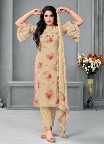Beige Satin Cotton Daily Wear Fancy Printed Work Churidar Suit