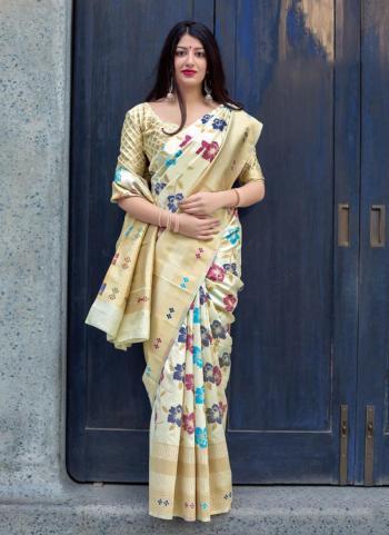 Beige And Cream Silk Festival Wear Embroidery Work Saree