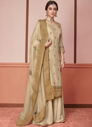 Beige Silk Wedding Wear Embroidery Work Palazzo Suit