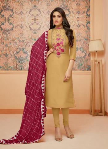 Beige Upada Silk Regular Wear Embroidery Work Churidar Style