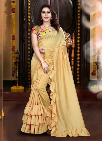 Beige Vichitra Silk Regular Wear Lace Work Saree