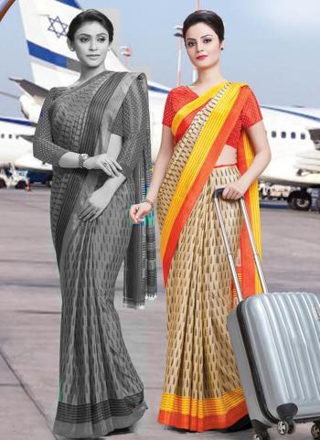 Beige Vichitra Silk Regular Wear Printed Work Uniform Saree