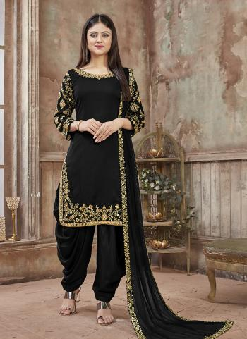 Black Art Silk Party Wear Embroidery Work Patiala Suit