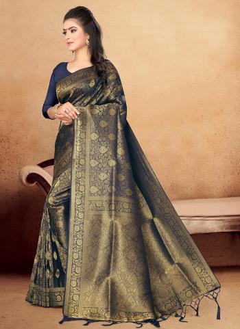 Black Art Silk Wedding Wear Zari Work Saree