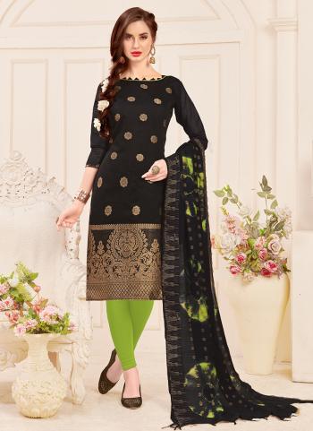 Black Banarasi Jacquard Regular Wear Churidar Suit